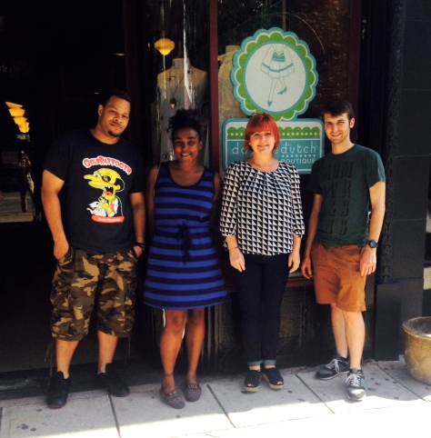 Left to right: Dominic Kelly, directing intern; Leslie Napper, editing intern; Lesley Jennings, owner of Doubledutch; Mark Burchick, producing intern.
