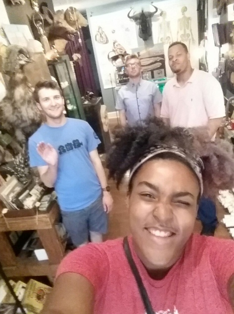 Leslie Napper, editing intern, takes a selfie of our production at Bazaar.