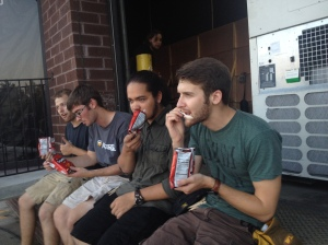 Eating a snack on the last day of shooting.